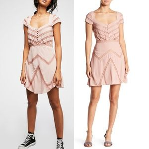 NWT Free People Elle Toasted Milk Mini Dress